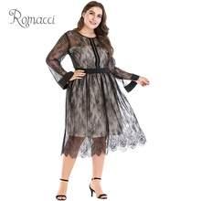caf3f7b953b Romacci Women Plus Size Dress XXXL 4XL 5XL Sheer Mesh Floral Lace Rhinestone  Long Sleeve Elegant Evening Partywear Black Dress