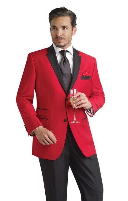 custom made red black color tuxedo men wedding suits Promotion Men's Luxury Suit Set Fashion Men Business Suit Jacket+Pant+Tie