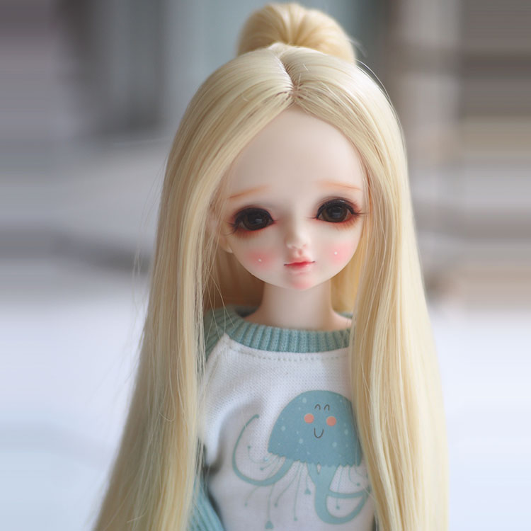 1/3 1/4 1/6 Bjd SD Doll Wig High Temperature Light Blonde With One Ponytail Straight BJD Super Dollfiles For Doll Hair Wig 1 3rd scale 65cm bjd nude doll bazael bjd sd doll boy with face up not included clothes wig shoes and accessories