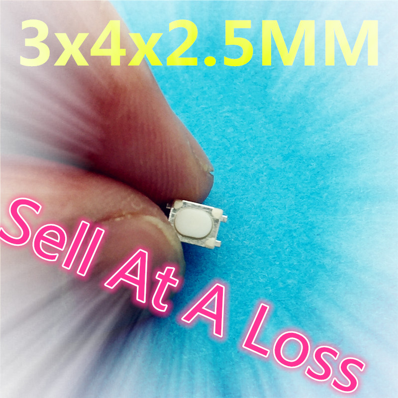 50pcs SMT 3x4x2.5MM 4PIN Tactile Tact G75 Push Button Micro Switch Self-reset Car Remote Control Switch Sell At A Loss USA