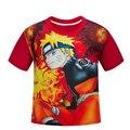 NARUTO Crianças Meninos camiseta de manga curta verão dos desenhos animados T-shirt das crianças vermelhas