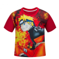 NARUTO Kids Boys short sleeve T shirt red children's summer cartoon T-shirt