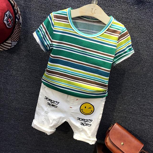 2017 Летняя мода детская одежда детская одежда костюм в полоску спортивные модели хлопка с коротким рукавом 2 шт. детская одежда