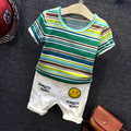 2017 Summer fashion baby clothing baby clothing suit striped sports model cotton short-sleeved 2pcs baby clothes