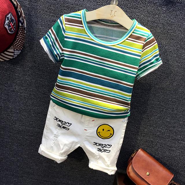 2017 de moda de Verano ropa de bebé ropa de bebé traje a rayas deportes modelo de algodón de manga corta 2 unids ropa de bebé