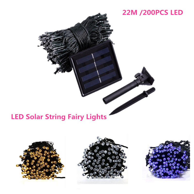 22M Solar Outdoor 200 LED String Lights Solar Powered Waterproof Decorative Light with 8 Working Modes for Garde Party