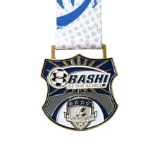 High quality football sports medal custom soft badge with thermal transfer ribbon