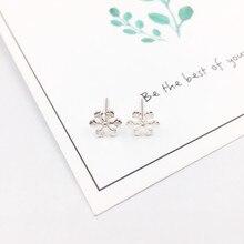 Купить с кэшбэком New 925 Sterling Silver Earrings Cute Christmas Snowflake Stud Earring for Women Girl Fashion Jewellery Xmas Gift
