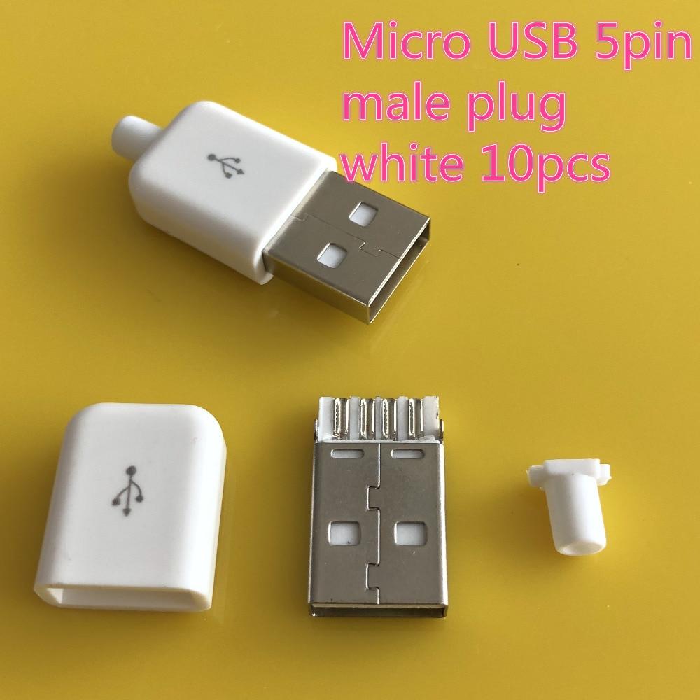 10PCS/LOT YT2154B USB 2.0 Male Connector Plug  Black/White Welding Data OTG Line Interface DIY Data Cable Accessories Free Ship