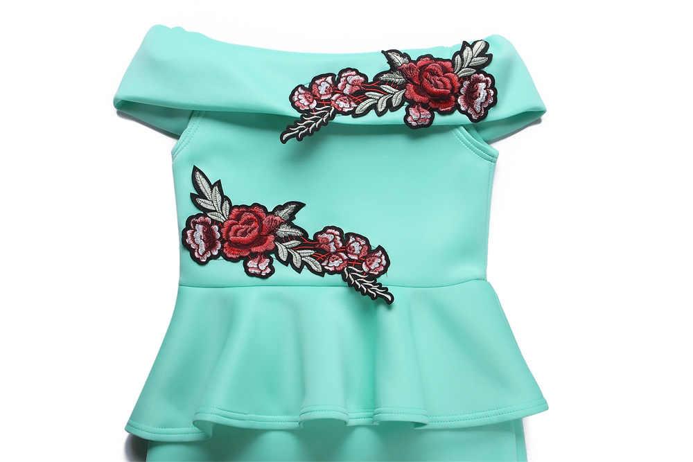 369efe085a77 ... Turquoise Pink Off Shoulder Slash Neck Floral Embroidery Package Hips Bodycon  Midi Dress Elegant Ladies