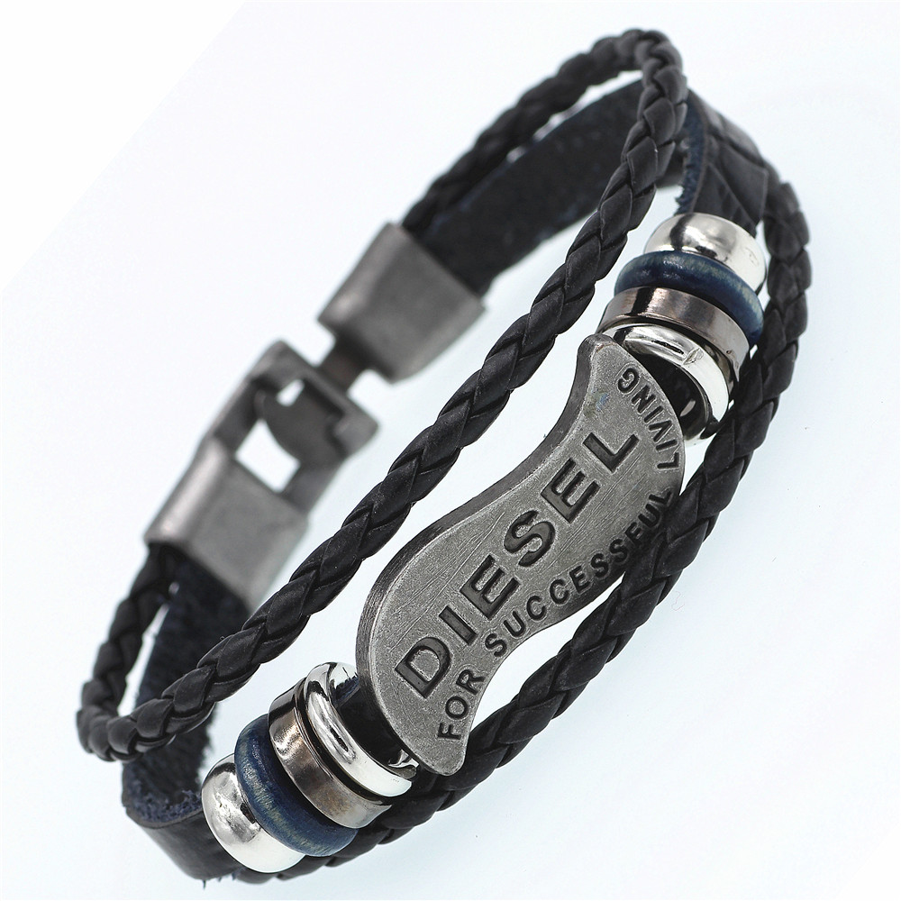 DGW Multilayer DIESEL Bracelet Men Casual Fashion Braided Leather Bracelets For Women Wood Bead Bracelet Punk Rock Men Jewelry