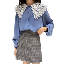 Women O Neck Long Sleeve Chiffon Blouse Ladies Fashion Elegant Blouses Lace Patchwork Shirt Casual Tops