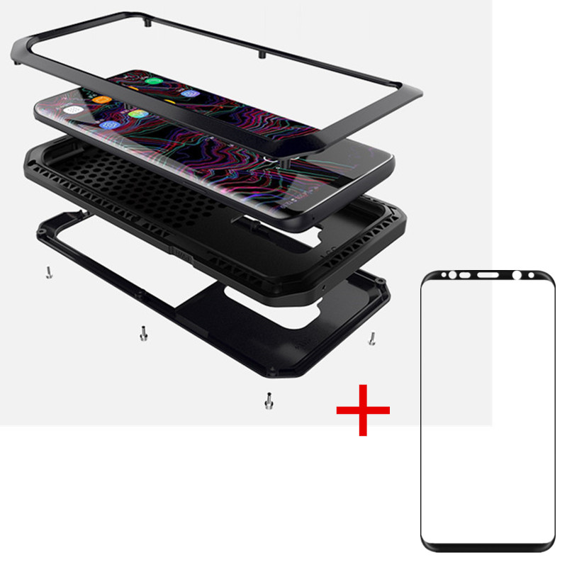 AKASO Heavy Duty Metal Case Shockproof Cover + tempe glass For Samsung S9 S9 PLUS S5 S6 S6 edge S7 S8 S8plus Note 8 case
