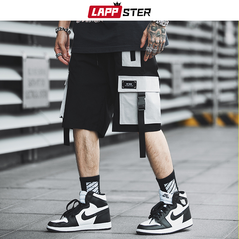 LAPPSTER Men Streetwear Color Block Cargo Shorts 2019 Summer Hip Hop Shorts Men Joggers Polyester Sweatshorts Belt Khaki Shorts