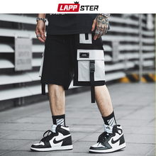 LAPPSTER Men Streetwear Color Block Cargo Shorts 2019 Summer