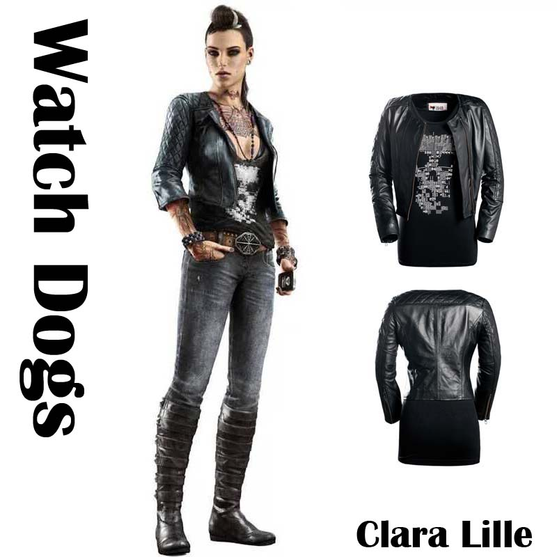 7181d26a1c7 US $114.28 7% OFF|[STOCK]Game Watch Dogs figure Clara Lille Sheep Leather  Motor Jacket Winter Coat +Vest Halloween Cosplay Costumes for Women-in Game  ...