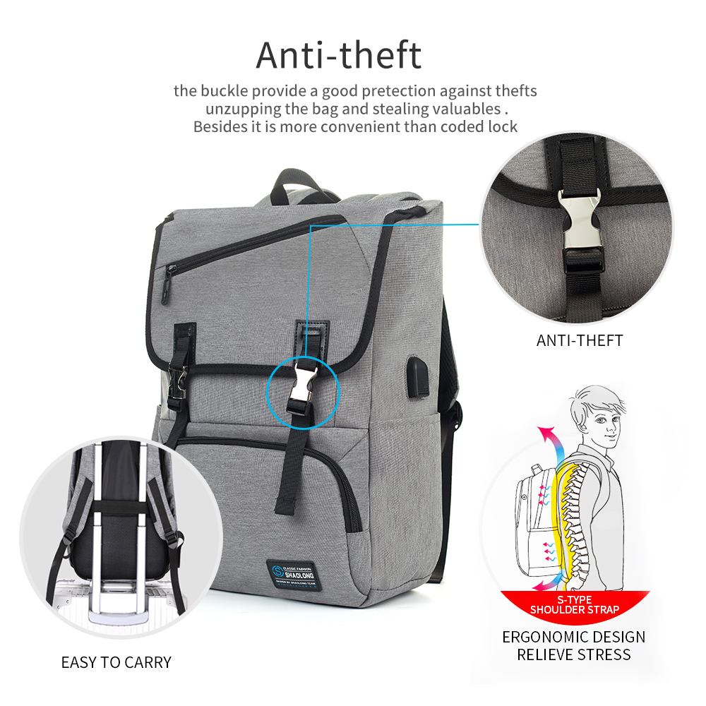 Mealivos Anti theft Water Resistant Polyester Laptop Vintage Backpack with USB Charging Port Under 17 Inch Laptop and Notebook in Backpacks from Luggage Bags