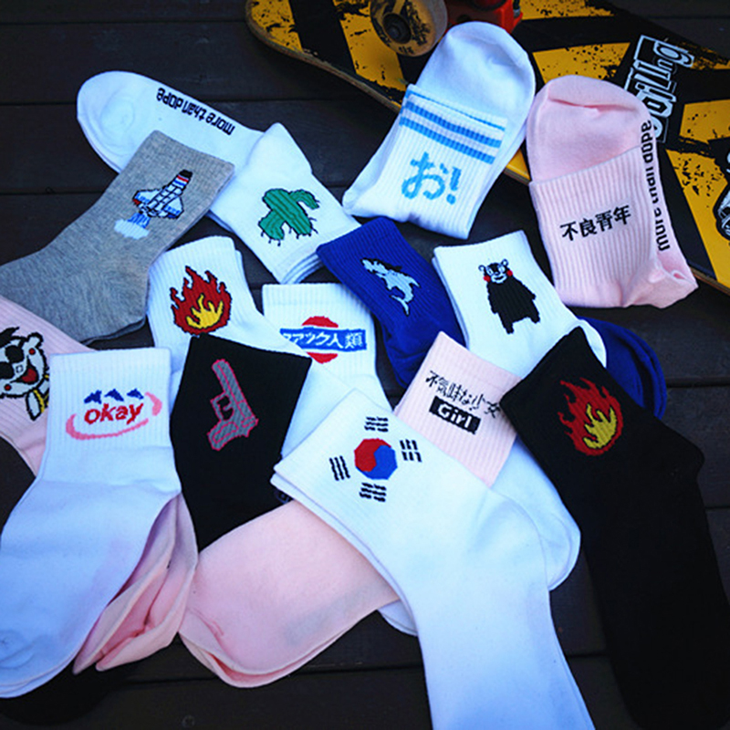 1pair Women and Men Socks Funny Cactus Cat Pattern Lovers Sox Harajuku Casual Socks Fashion Couples Socks HO985660