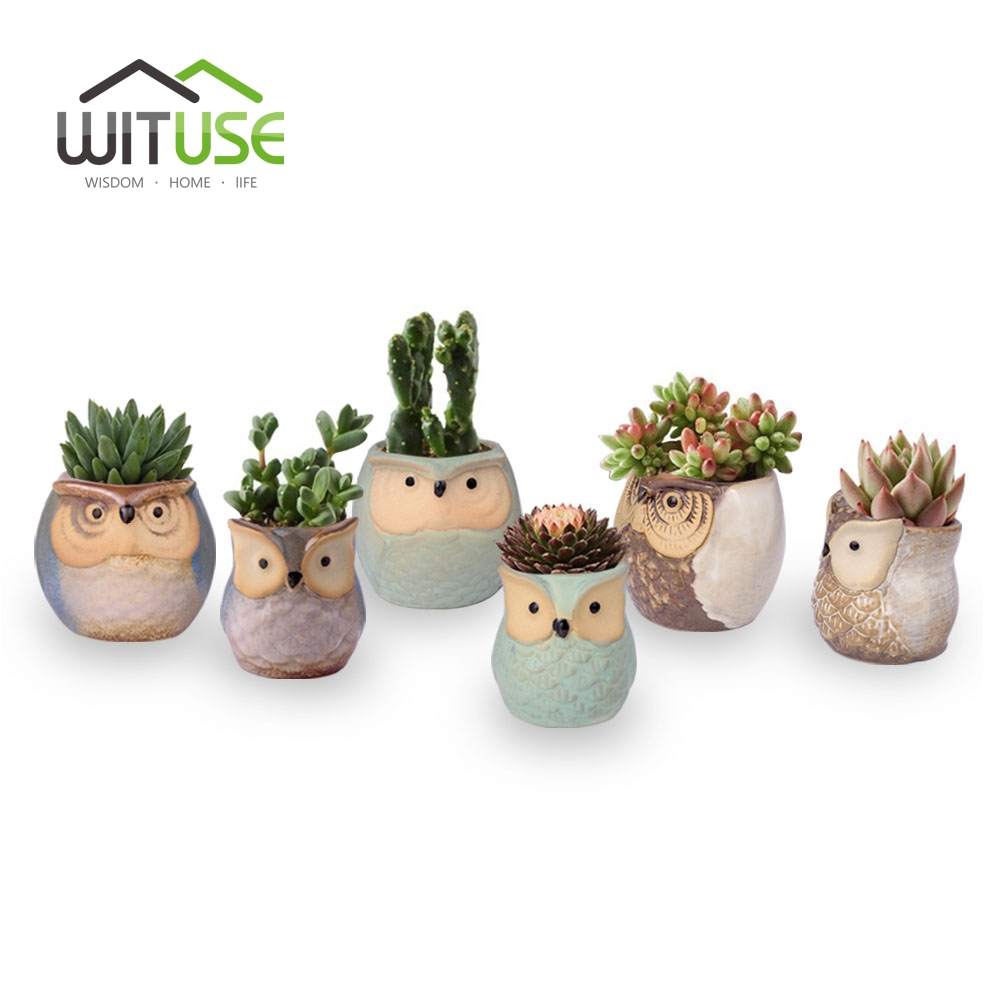 Image 2 - WITUSE Owl flower pot ceramic glazed plants pots decorative Cartoon clay garden pot for balconies small indoor flowers-in Flower Pots & Planters from Home & Garden