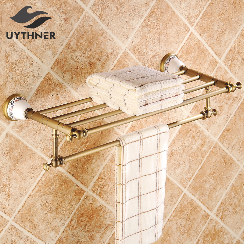 цена Uythner Solid Brass Bathroom Toilet Paper Holder Wall Mounted Roll Paper Tissue Bar Antique Brass
