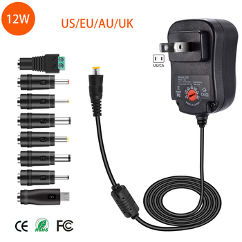 цена на 3V 4.5V 5V 6V 7.5V 9V 12V AC DC Adaptor Adjustable Power Adapter Universal Charger Supply for led light strip lamp 12W
