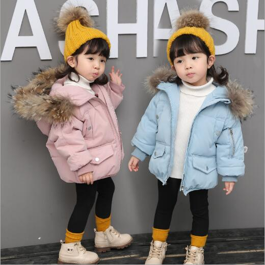 2018 New Fashion Baby Girls Jackets Fur collar Autumn Winter Jacket Kids Warm Hoodies Children's Outerwear Coat Girls Clothes plus size winter women cotton coat new fashion hooded fur collar flocking thicker jackets loose fat mm warm outerwear okxgnz 800