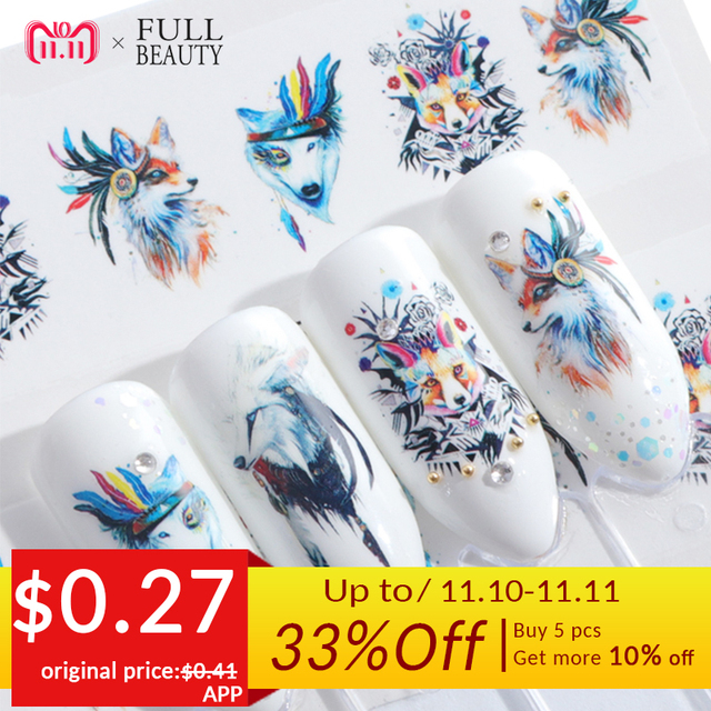 Full Beauty 1pcs Lovely Cartoon Colorful Image DIY Stencils Nail Decals Nail Art Sticker Manicure Water Slider Tips