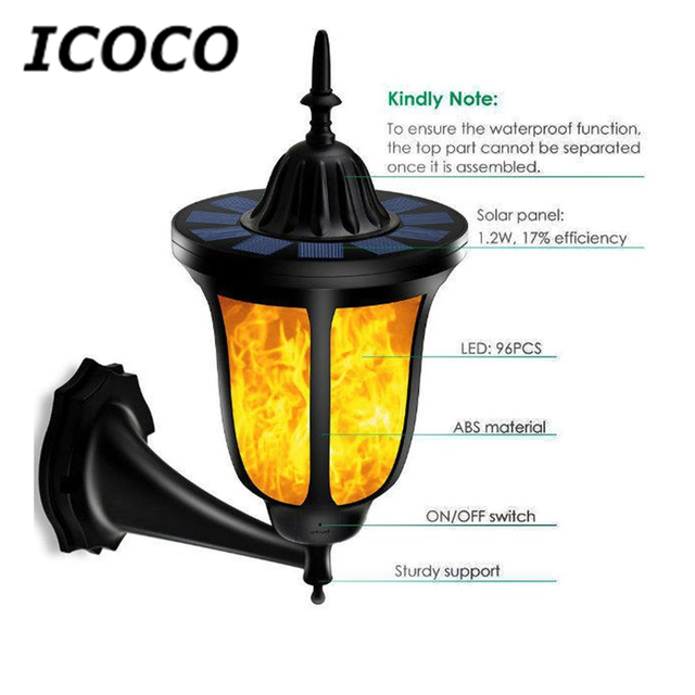 Outdoor torch lighting tempest torch lighting homespun comforts outdoor torch lighting icoco 96 leds solar flame flickering led wall lamp waterproof ip65 torch aloadofball Images