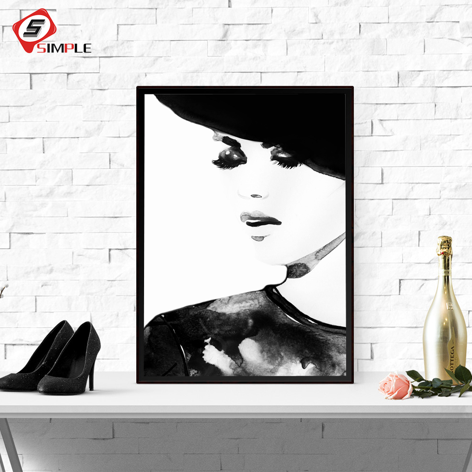 Canvas Painting Black And White Vogue Posters And Prints 40X60Cm 2 Pieces Nordic Fashion Girl Posters Wall Art Pictures For Living Room No Frame