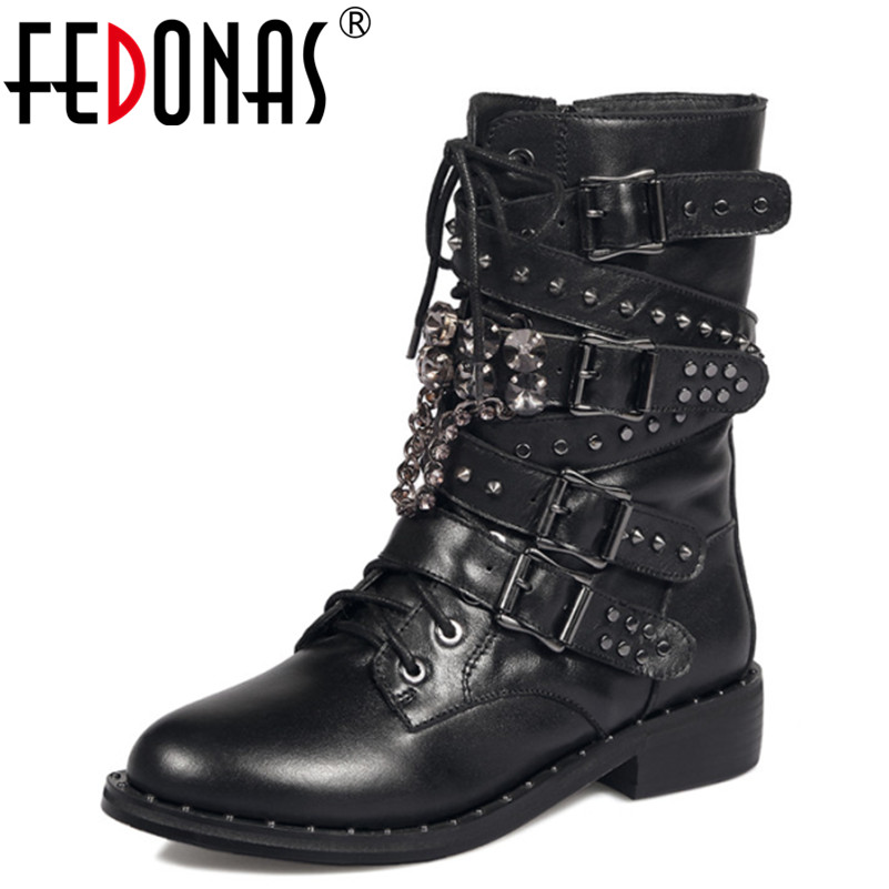 FEDONAS Fashion Autumn Winter Handmade Punk Genuine Leather Warm Snow Boots Motorcycle Boots Women Mid-calf Boots Shoes Woman