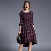 Mùa thu Kẻ Sọc Phong Cách Anh Dresses New England Mạng Một Dòng O Cổ Dày Slim Kiểm Tra Knee Length Không Thường Xuyên Ăn Mặc Hot bán