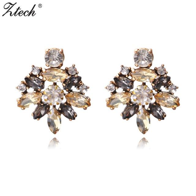 Ztech Brand Ethnic Full Rhinestone Trendy Stud Earrings For Women Boho Style Party Statement Wedding
