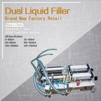 Pneumatic Double Nozzle Liquids Piston Filler Soft Beverage Filling Machine Food Juice Water Bottling Packing Equipment