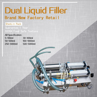 Pneumatic Double Nozzle Liquids Piston Filler Soft Beverage Filling Machine Food Juice Water Bottling Packing Equipment