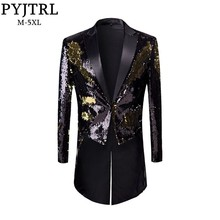 PYJTRL New Male Fashion Plus Size Gold Black Double Color Sequins Tailcoat Stage Singers Wedding Grooms Tuxedo Blazer Coat Men