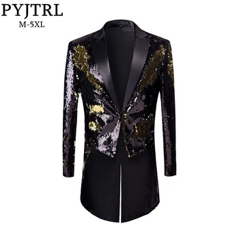 PYJTRL New Male Fashion Plus Size Gold Black Double-Color Sequins Tailcoat Stage Singers Wedding Grooms Tuxedo Blazer Coat Men Men Blazers
