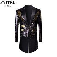 PYJTRL nowa moda męska Plus rozmiar złoty czarny podwójne kolorowe cekiny frak piosenkarki sceniczne dla pana młodego smoking Blazer płaszcz mężczyzn