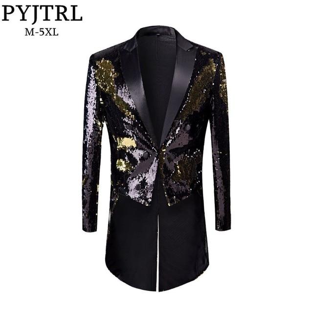 PYJTRL yeni erkek moda artı boyutu altın siyah çift renk Sequins Tailcoat sahne şarkıcılar düğün damatlar smokin Blazer ceket erkekler