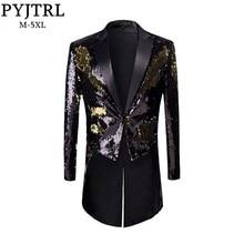 PYJTRL 新男性ファッションプラスサイズゴールド黒ダブルカラースパンコール燕尾服ステージ歌手結婚式新郎タキシードブレザーコート男性