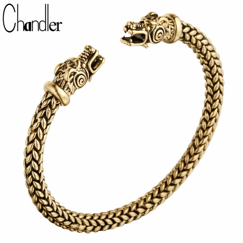 Chandler Brand New Nordic Viking Dragon Solid Bronze Cuff Bracelet Scandinavian Historical Costume Accessories For Women And Men