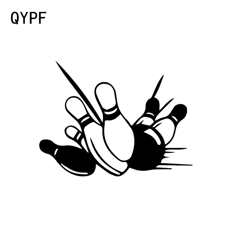 Qypf 13.7*15.1cm Bowling Graphic Decal Decor Car Styling Stickers Vinyl Silhouette Sports Accessories C16-1270 Exterior Accessories