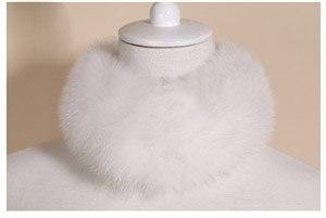 SCM043 шарф из лисьего меха шарфы-повязки на шею теплая накидка шаль-пончо снуд много цветов 57*12 см - Цвет: white