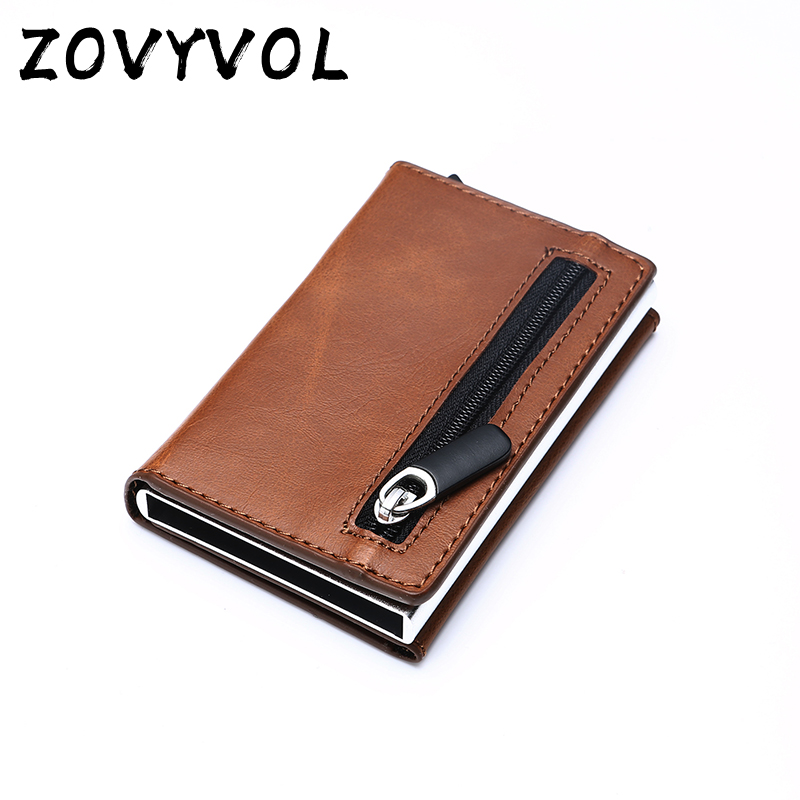 ZOVYVOL Rfid Smart Wallet Credit Card Holder Metal Thin Slim Men Wallets Pass Secret Pop Up Minimalist Wallet Small Black Purse(China)