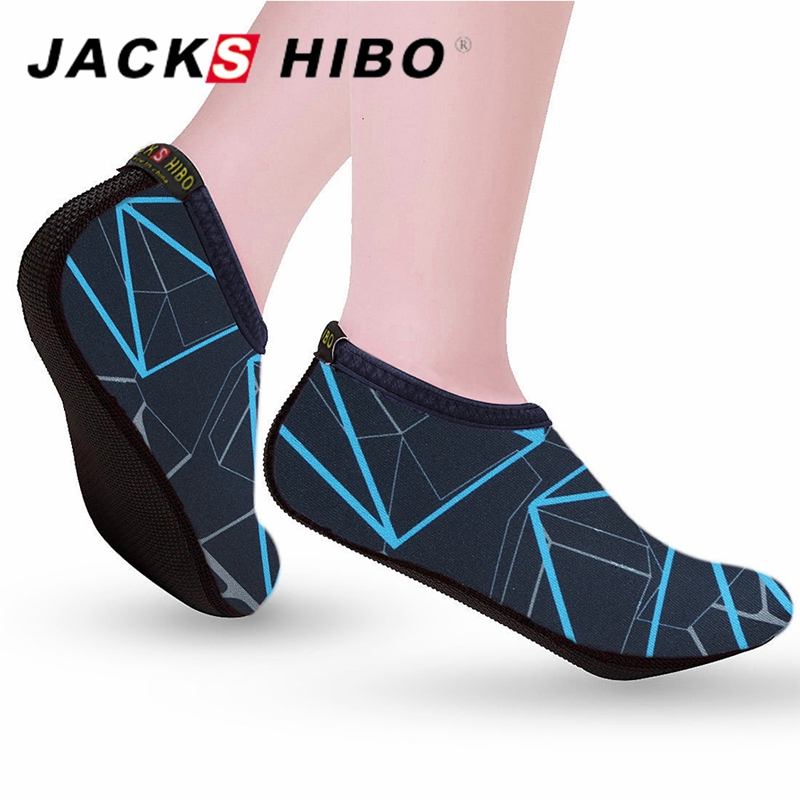 JACKSHIBO Summer Water Shoes Men Swimming Shoes Aqua Beach Shoes Big Plus Size Sneaker for Men Striped Colorful zapatos hombre 4