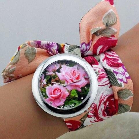 shsby 2018  New design Ladies flower cloth wrist watch fashion women dress watch high quality fabric clock sweet girls watch Karachi