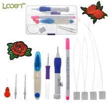 Cute Magic Embroidery Pen Punch Tool Kit Stitching Set With Scissors Applique For Women Mom Gift