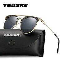 YOOSKE New Brand Cat Eye Sunglasses for Men Women Vintage Oversized Sun Glasses Retro Metal Frame Eyewear UV400 Mirror Shades
