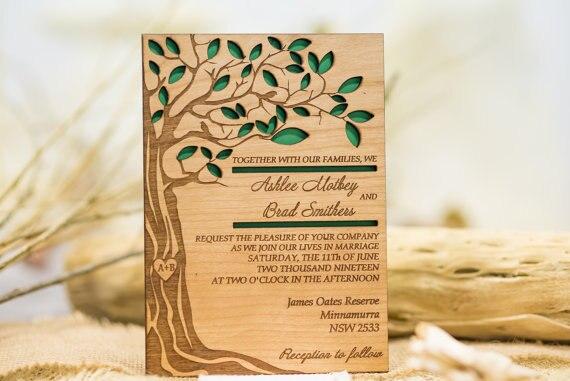 Laser Cut Wood Wedding Invitations: Tree Wedding Invitation, Wooden Forest Invitation, Laser