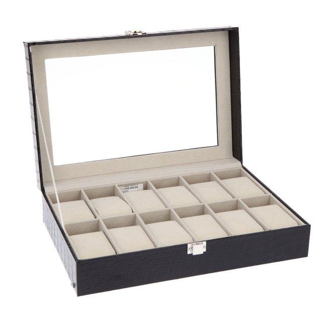 Luxe 12 grille cuir montre boîte bijoux affichage Collection mallette de rangement montre vide-poche reloj caixa relogios