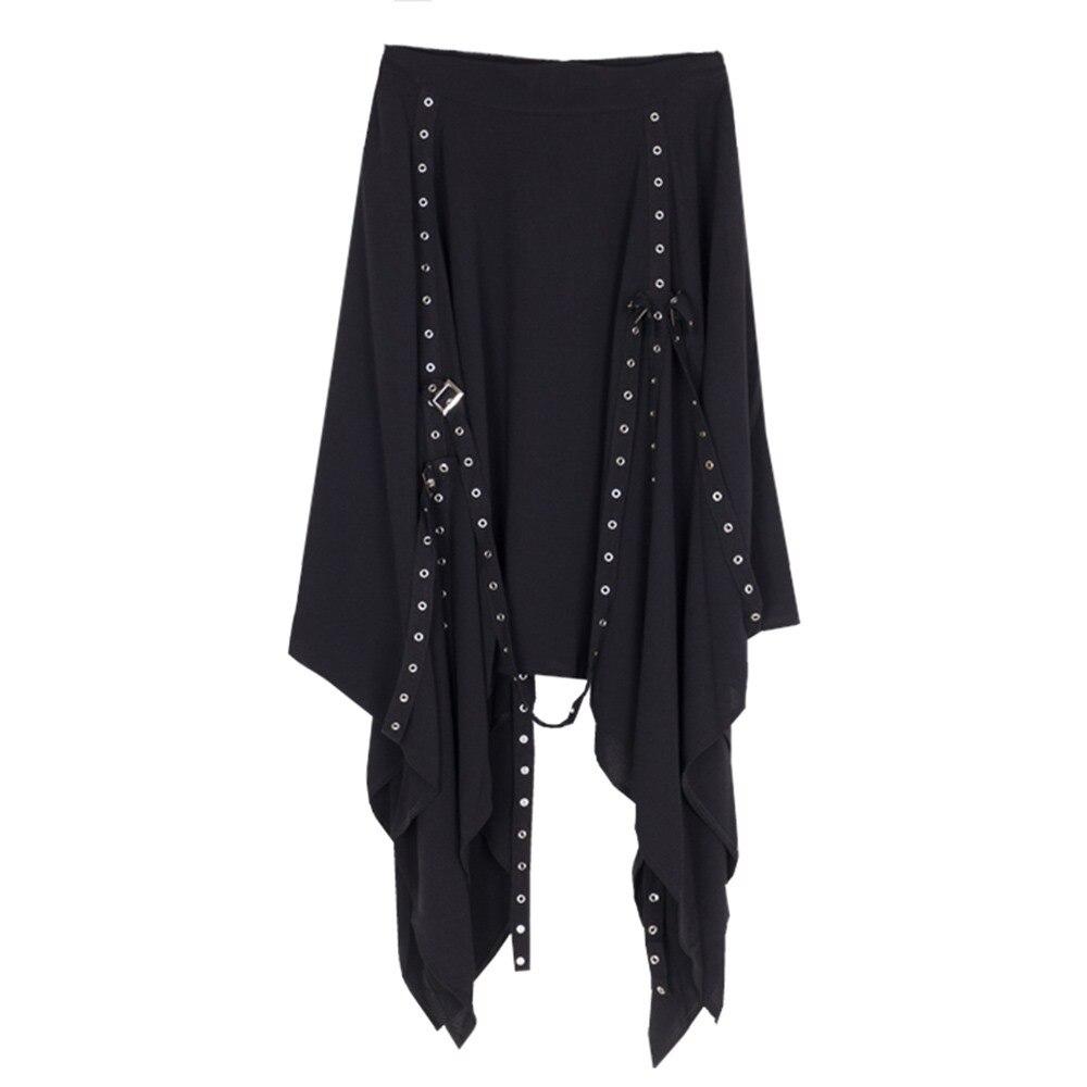 Черные длинные юбки в готическом стиле для женщин, новинка 2018, популярная Асимметричная цепь, высокая талия, уличная свободная панк стильна